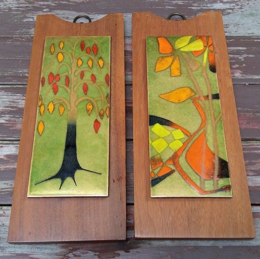 MID CENTURY MODERN ENAMEL on COPPER ABSTRACT FLORAL ART WALL PLAQUES ...