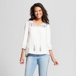 6f3a52ecfcbc8f Women's Long Sleeve Embroidered Eyelet Knit to Woven Peasant Top - Knox  Rose™ White