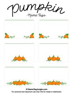 Free Printable Pumpkin Name Tags The Template Can Also Be Used For - Cubby name tag template