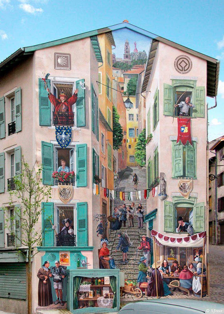Design Creation Le Puy En Velay street art – les jolis trompe-l'œil architecturaux de