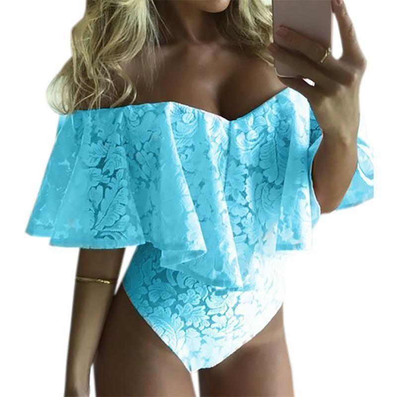 676e5dd87f Lace Bardot Neckline Women Sexy Bodysuits