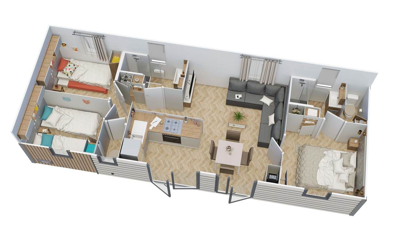 Mobil-home CLAIR DE LUNE 3 chambres | IRM en 2020 | Mobil home, Meuble rangement, Évier blanc