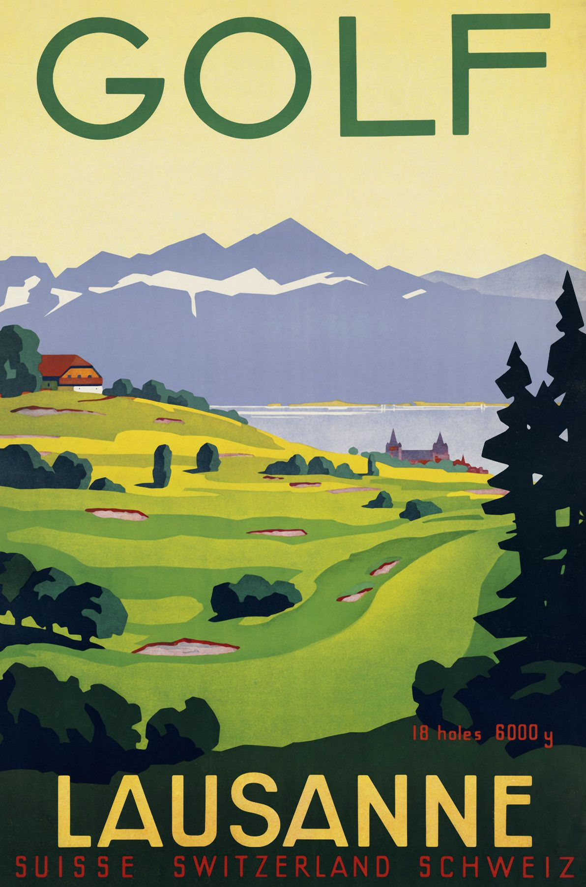 Vintage Golf Lausanne Vintage Travel Posters Travel Posters Golf Poster