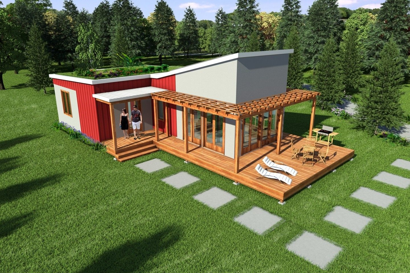 Contemporary steel frame 2br 1ba 870 sq ft complete for Steel frame barns for sale