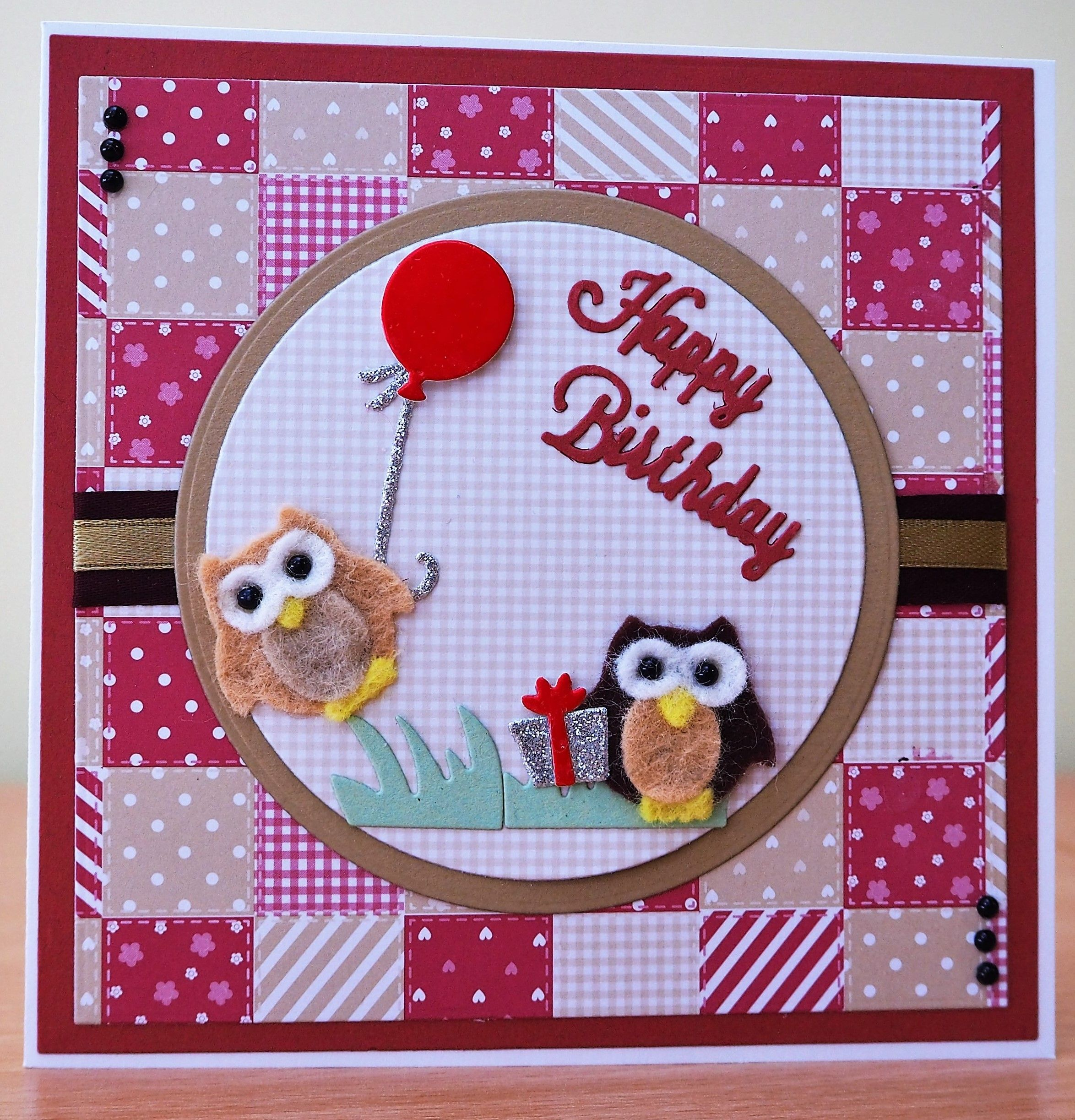 Handmade Birthday Card Cottage Cutz Owl Die In Felt For more