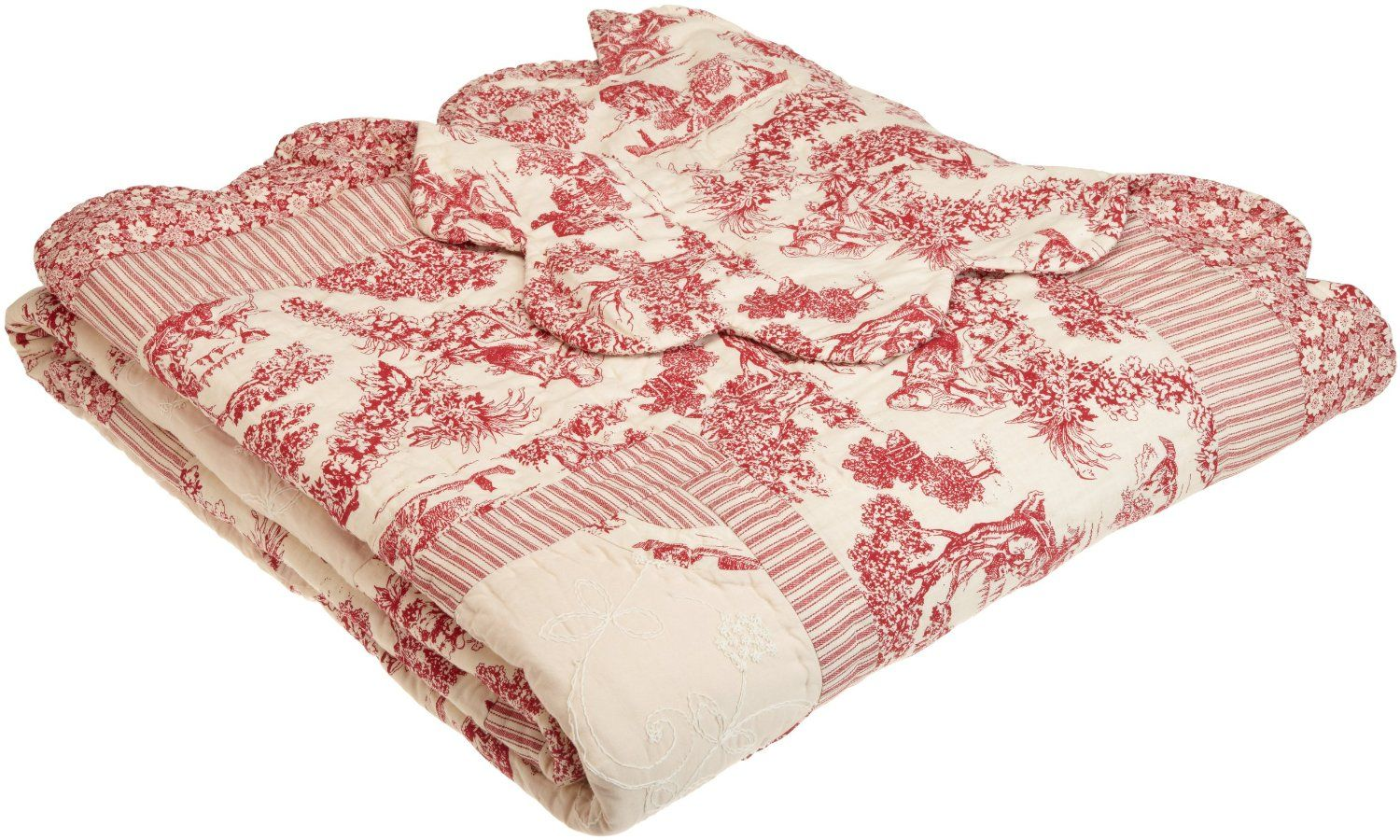 Red Toile Quilt Fabric Pattern Combination Ideas