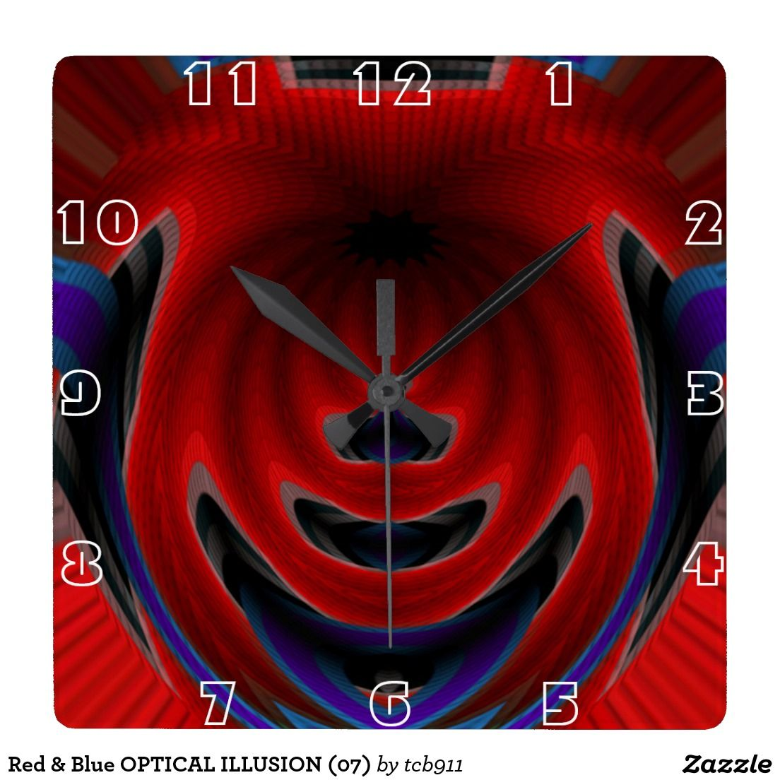 Red & Blue OPTICAL ILLUSION (07) Square Wall Clock