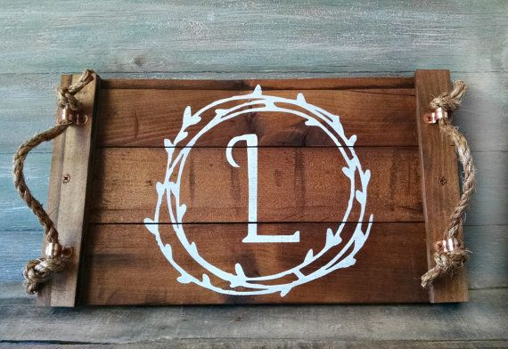 3a04d01f40 This personalized decorative wood tray with rope handles is functional as  well as beautiful. It would add a nice rustic touch to your home