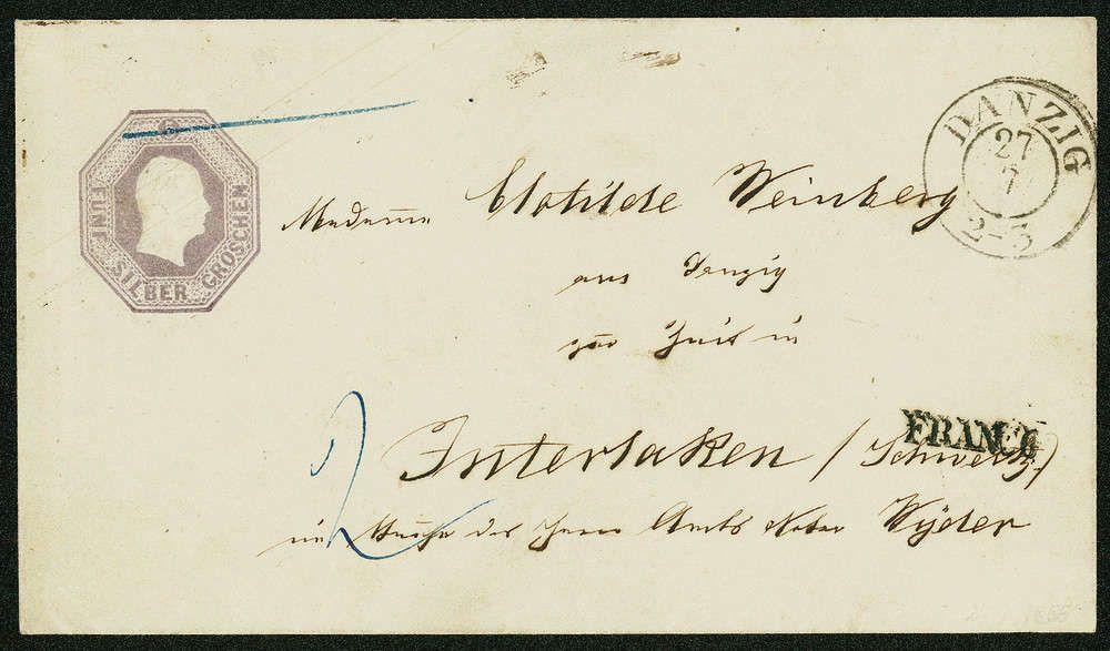 Old German States Prussia 5 Sgr. violet, Oktogonpostal