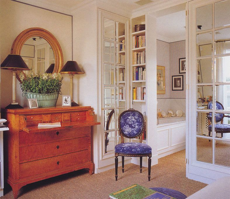 Secretaire antique mirror doors