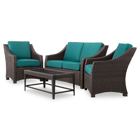 Belvedere 4 Piece Wicker Patio Conversation Set Threshold Target Wicker Patio Furniture