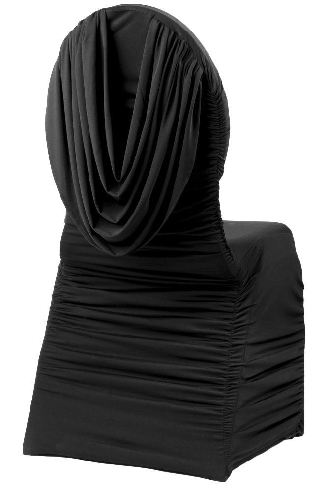 Swag Back Ruched Spandex Banquet Chair Cover Black Banquet