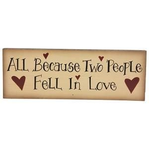New Fell In Love Wooden Plaque Sign Country Primitive Home Wall Decor