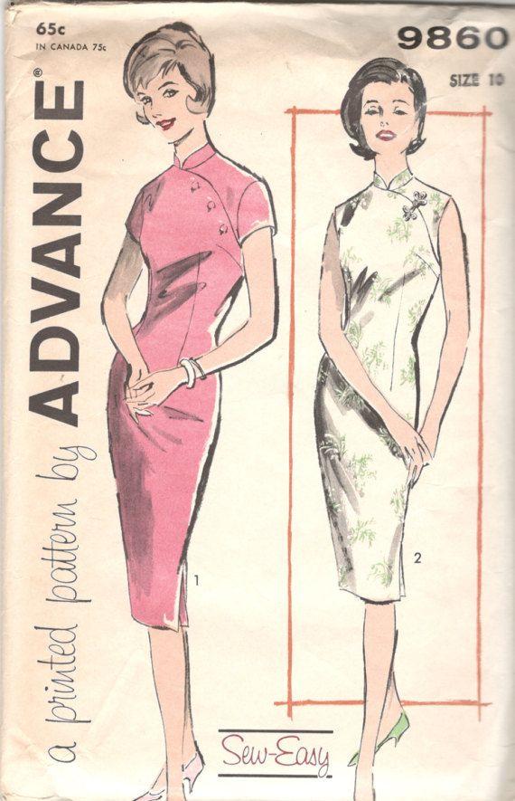 Advance 9860 1960s Oriental Cheongsam Dress Pattern Sheath ...