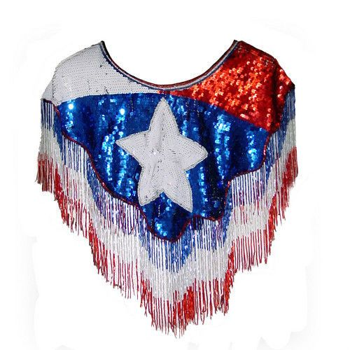 Red White Blue Beaded Fringe Shirt Shawl Wrap Skirt Rodeo