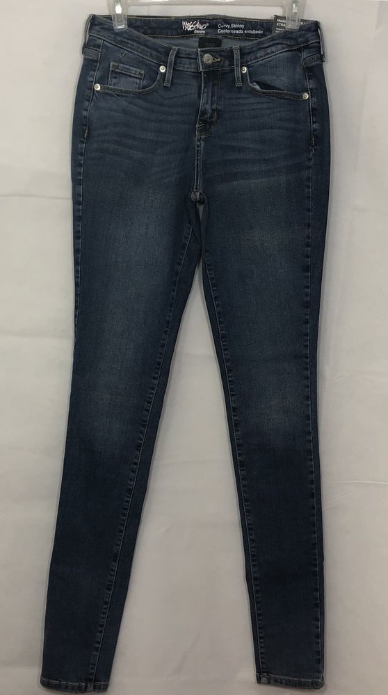 Size 6 Short Womens Mossimo Denim Curvy Skinny Jeans Pant Blue Washed Strecth