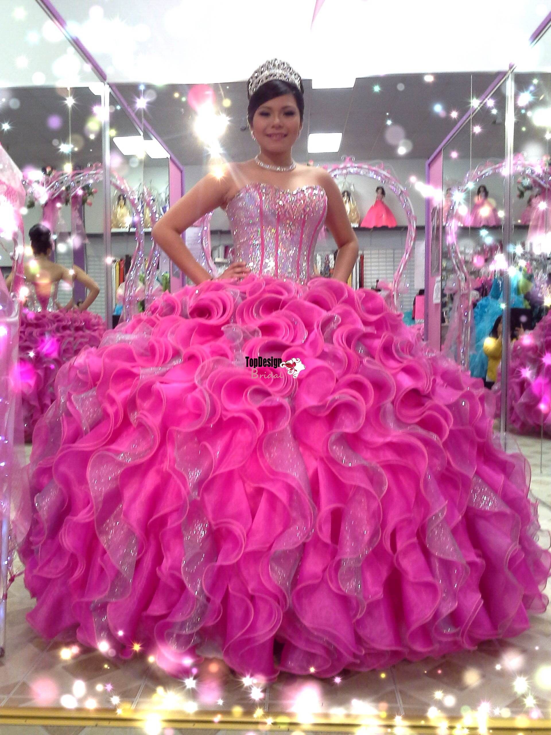 68b8e6e5f Wholesale 2016 new sweet 15 dress sparkling hot pink silver sequins puffy quinceanera  dress RF02