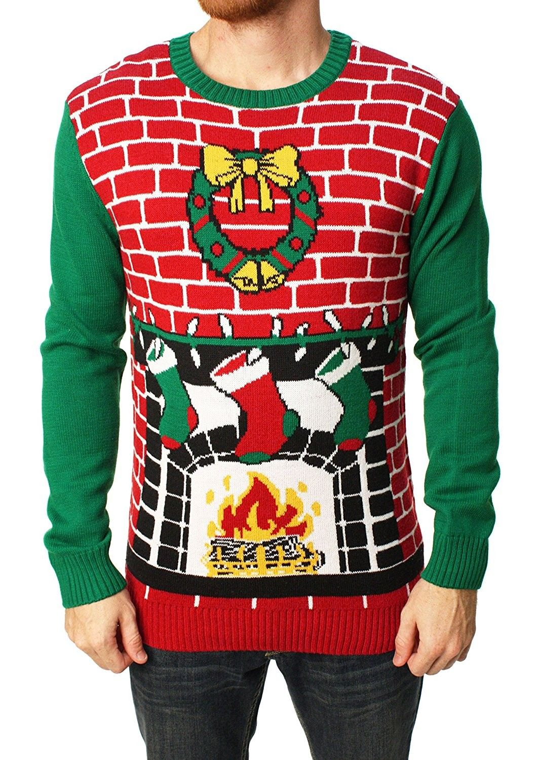 Ugly Christmas Sweater Mens Fireplace Pullover Sweater Cayenne