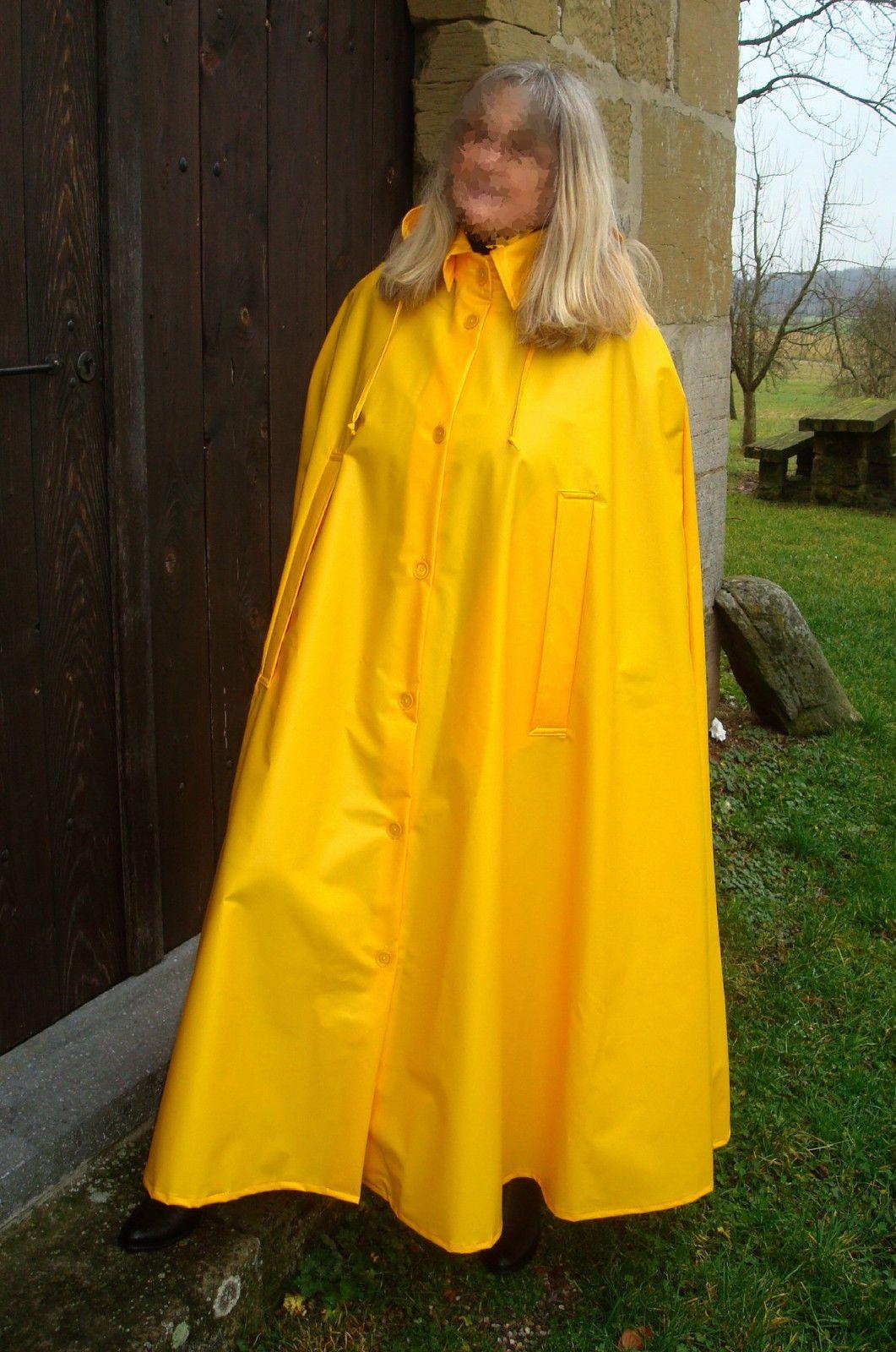 Rain Cape Regencape Raincoat Lack Shiny Vinyl Regenmantel
