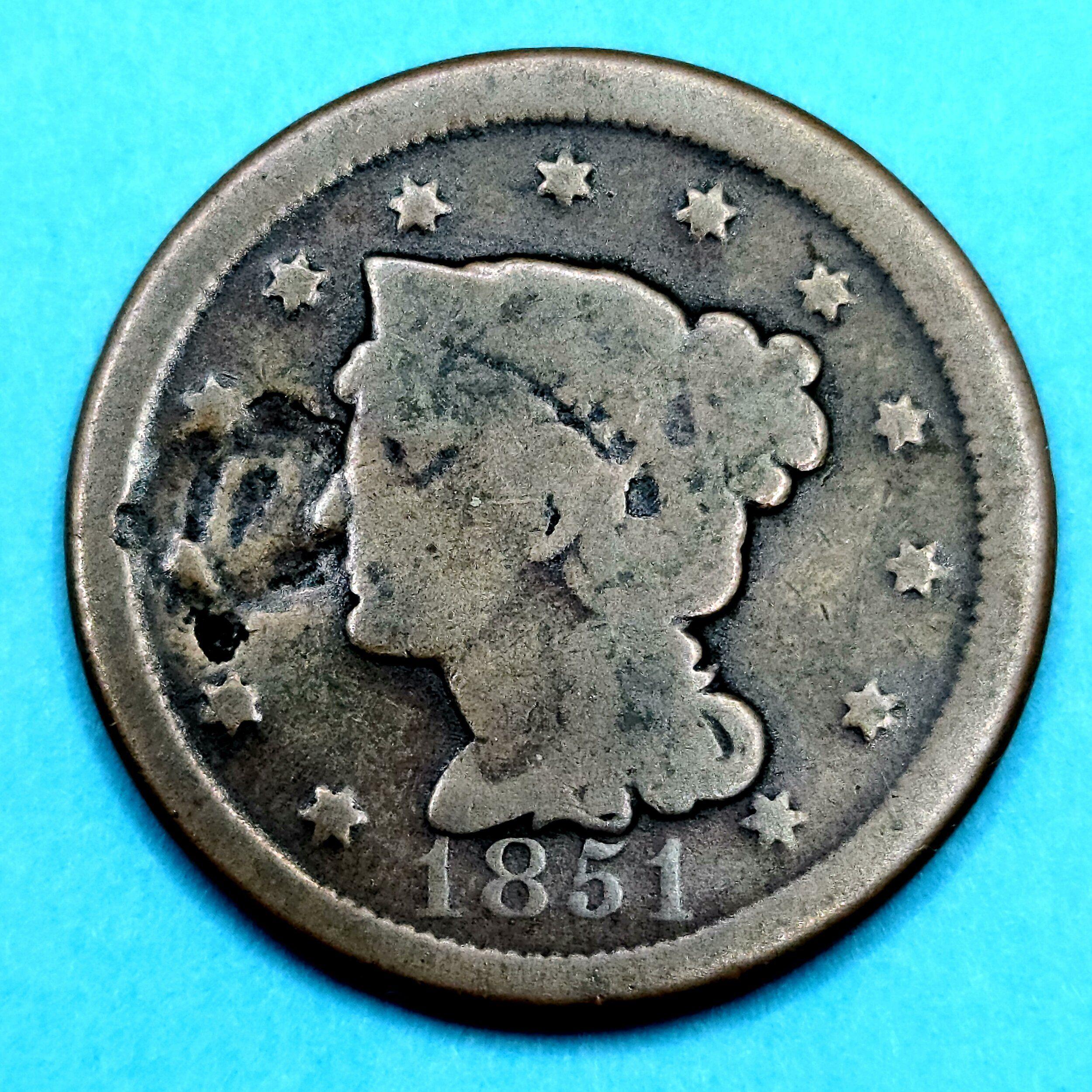 1851 U S Braided Hair Large One Cent 1851 U S Braided Hair Large One Cent Braided Hairstyles Braids Coinage