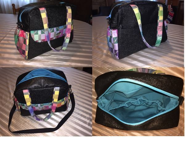 Sac Boogie cousu par Sylvie en simili noir et imprimé graphique multicolore - Patron couture http://sacotin.com/boutique/patron-sac-boogie/