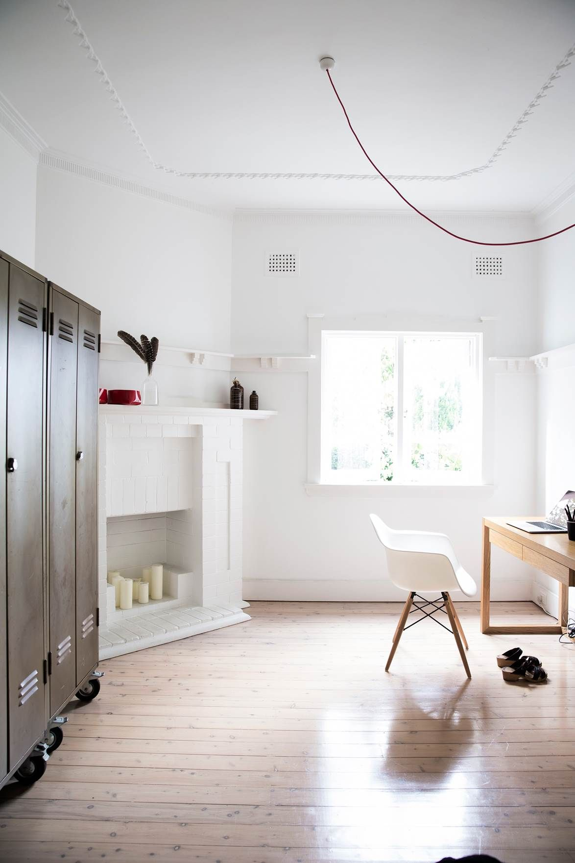 Vintage school lockers used as storage bring an industrial edge to this light and bright study also gallery  swiss style house extension in sydney  inner west home rh pinterest