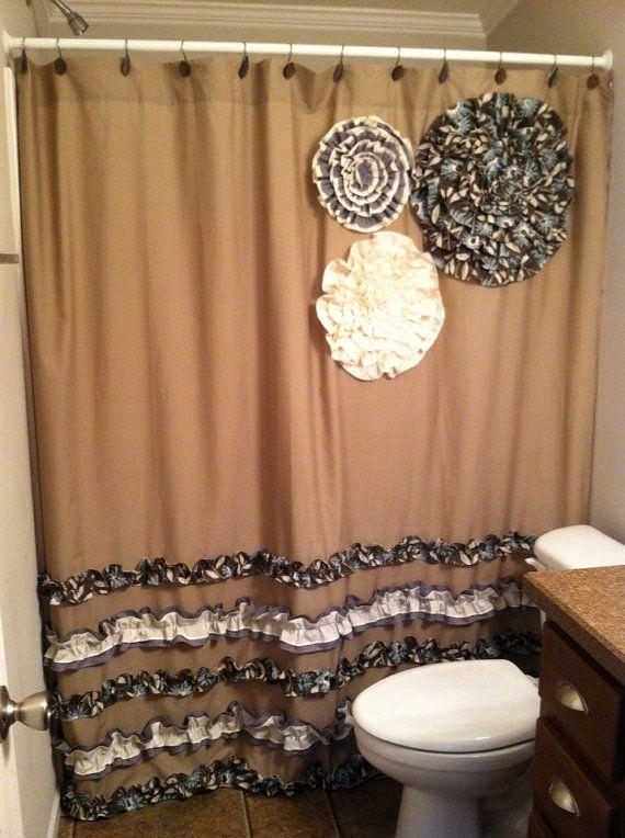 Shower Curtain Custom Made Designer Fabric Ruffles Flowers