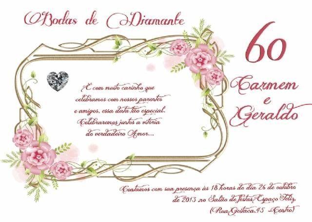 Convite De Bodas De Diamante Com Imagens Convite Diamante Bodas