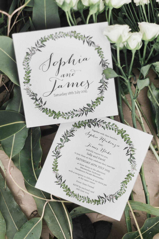 Elegant illustrated green and white wreath wedding invitation ...