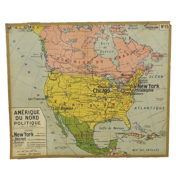 French Double-Sided North America Wall Map in East Garfield Park, Chicago, IL, USA ~ Krrb