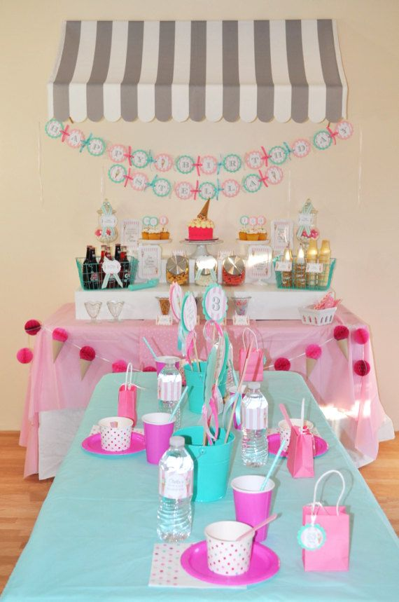Ice Cream Birthday Banner 1st Birthday Sweet by sosweetpartyshop
