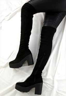 221203881d8 DARCEY Over Knee Chunky Platform Heel Chelsea Ankle Boots