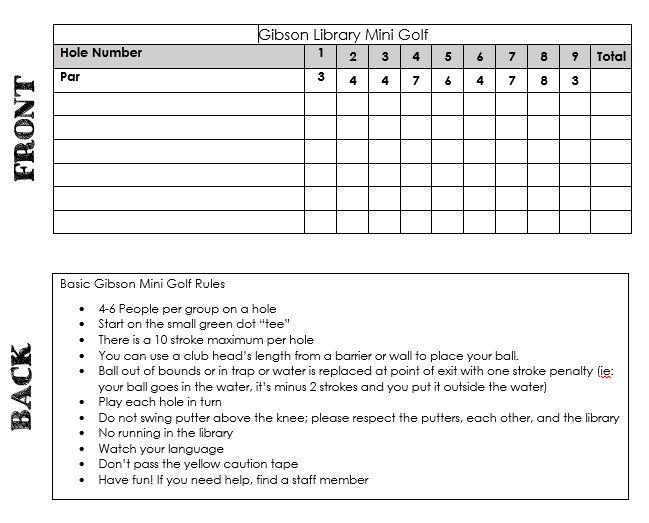 Mini Golf At The Library Golf Rules Golf School Golf Scorecard