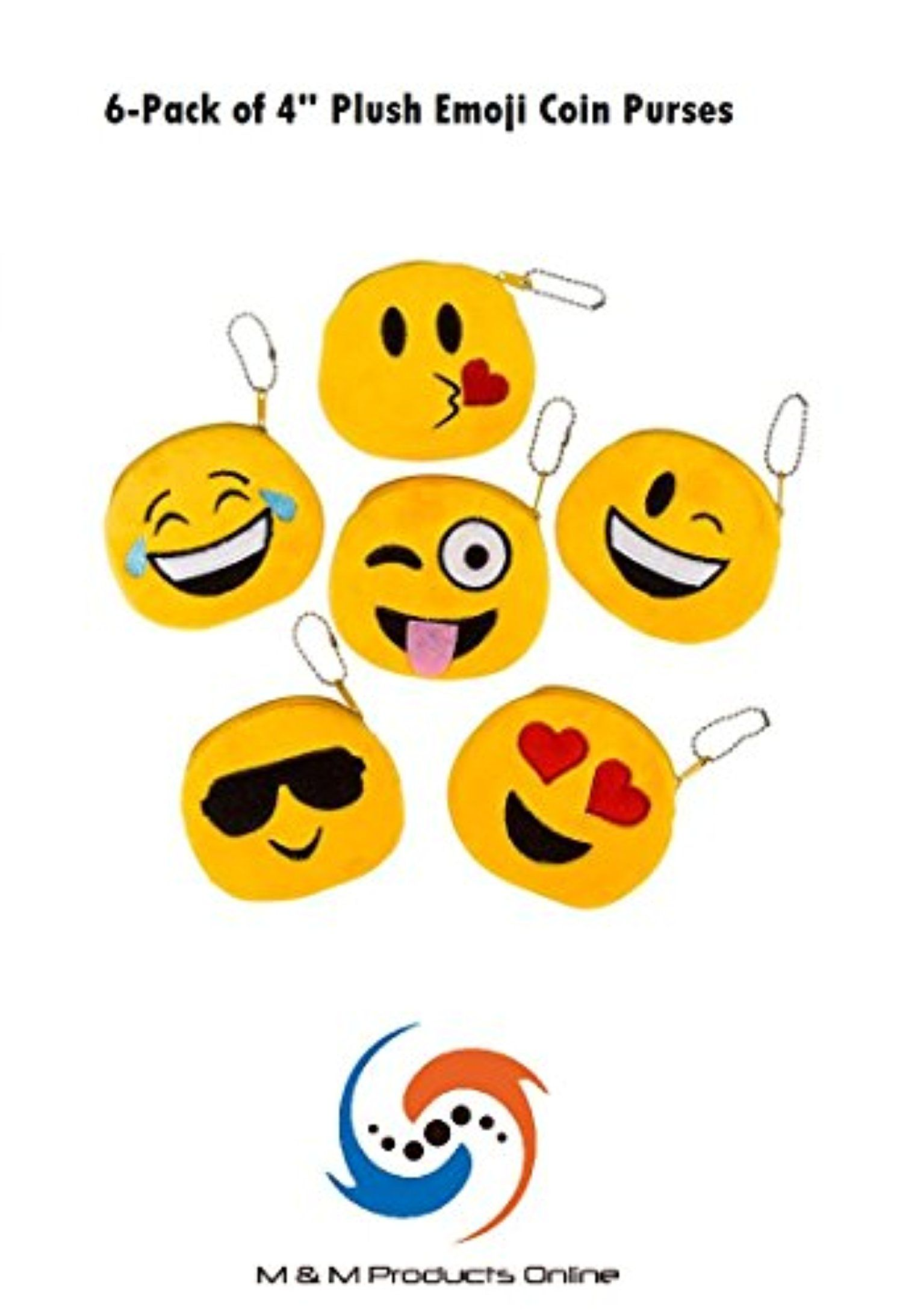 M M Products Online 6 Pack Of Emoji Plush Coin Purses Great