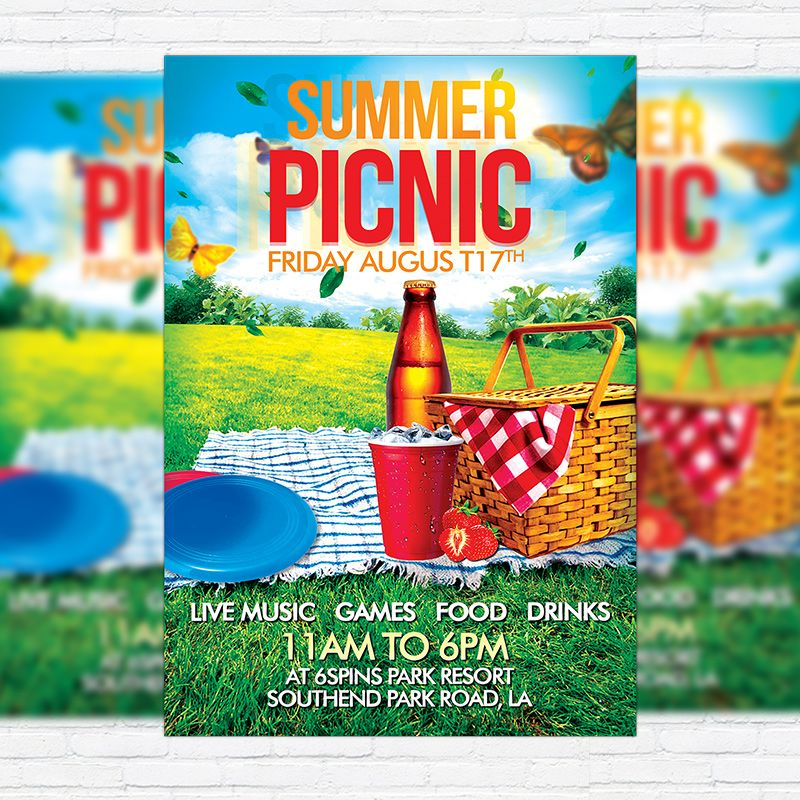 Summer Picnic  Premium Flyer Template  Facebook Cover Http