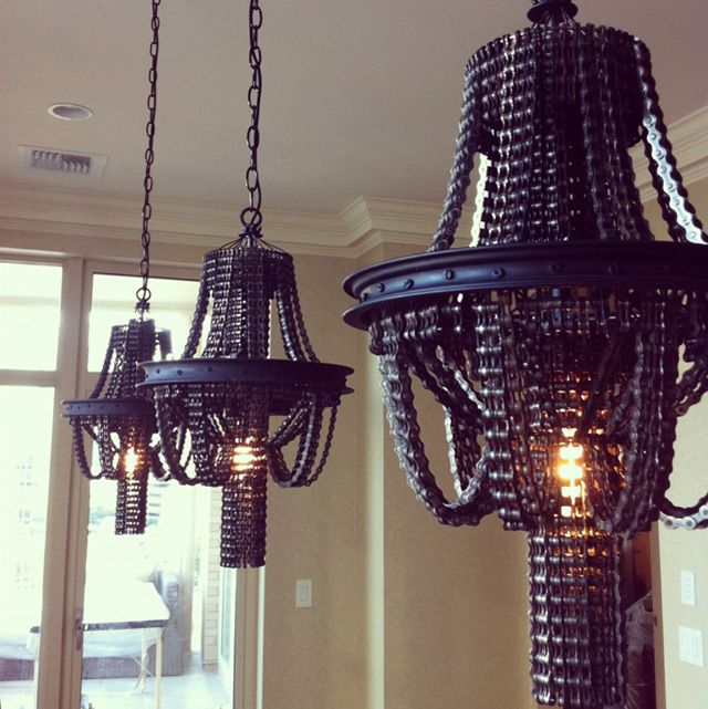 Chandeliers made from recycled bike parts!