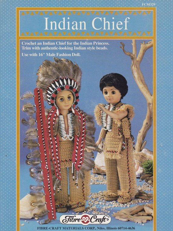Indian Chief, Fibre Craft 16 in Male Doll Clothes Crochet Pattern Booklet FCM329