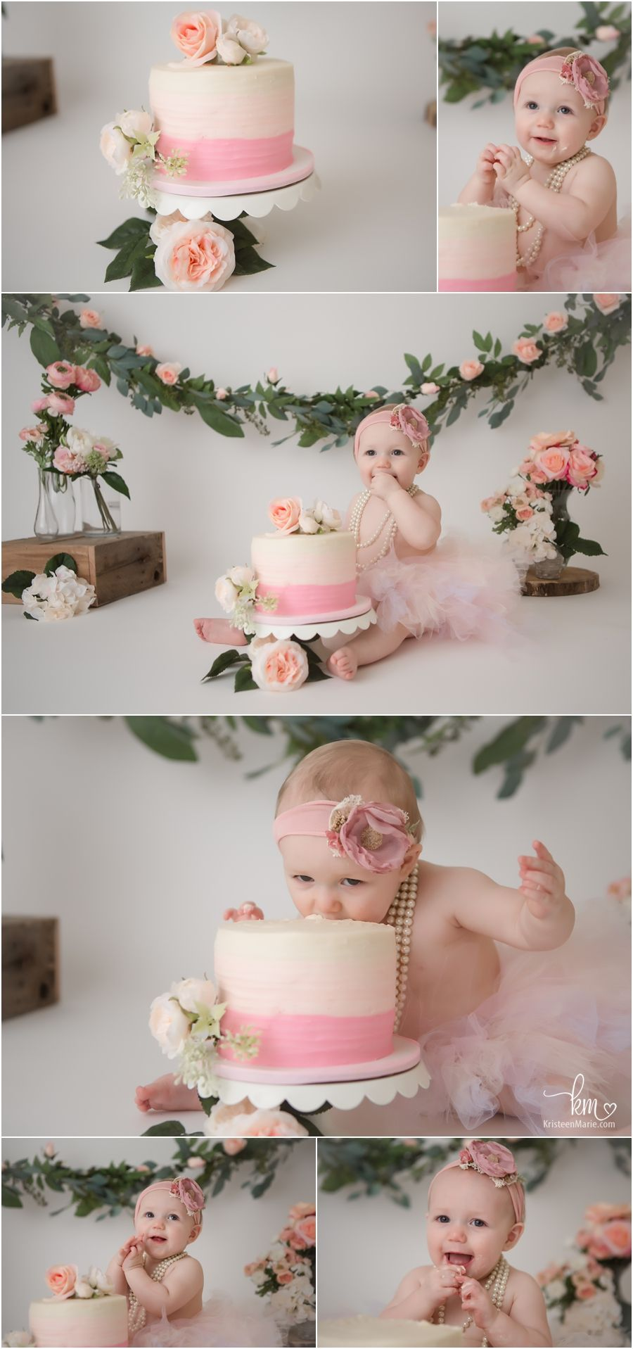 Cool Pink And Peach Floral Cake Smash A Indianapolis Photographer Funny Birthday Cards Online Kookostrdamsfinfo