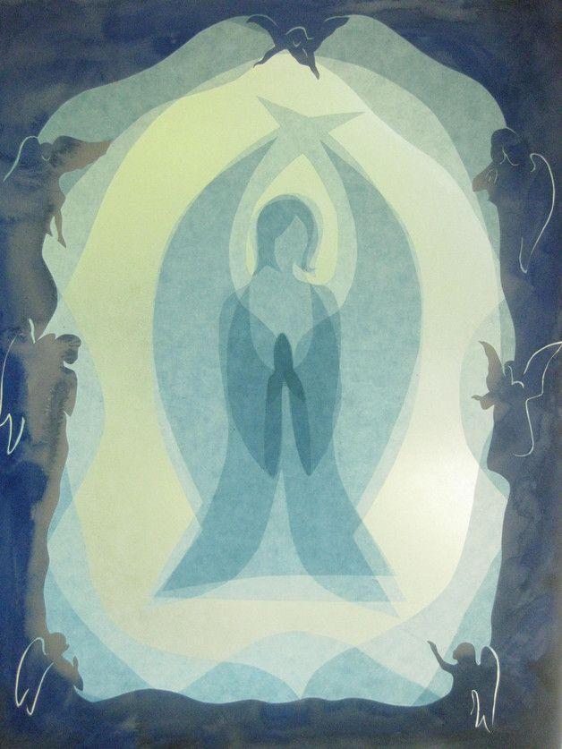 Transparentpapier Fensterbild zeigt ein großer blauer Engel. Die ...