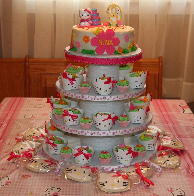 Hello Kitty Cake Cupcake Tower Hello kitty birthday cake