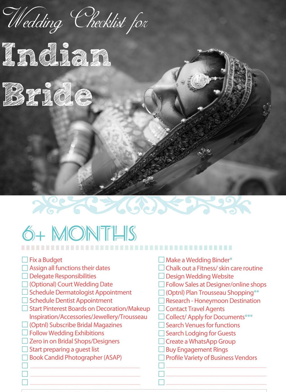 Indian Wedding Checklist For The Bride Indian Bridal Checklist Indian Wedding Pla Wedding Planner Checklist Wedding Checklist Budget Indian Wedding Planning