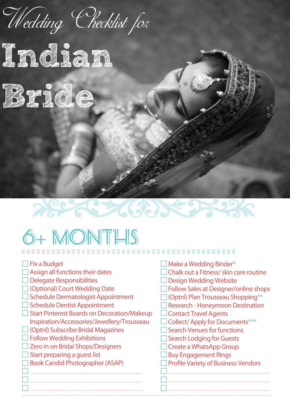 Indian Wedding Checklist for the Bride Indian Bridal Checklist