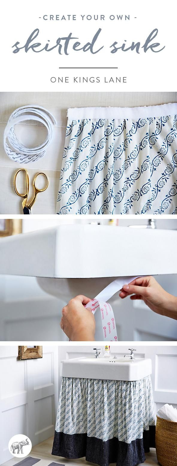 When I was growing up, my aunt had a skirt around her pedestal sink, and she kept a little basket under it for towels and toiletries. It's one of those things that always stuck with me because it was such an elegant storage solution, not to mention a fun way to add pattern and color to the bathroom. I thought it was time to revisit the project, but this time with a modern eye.