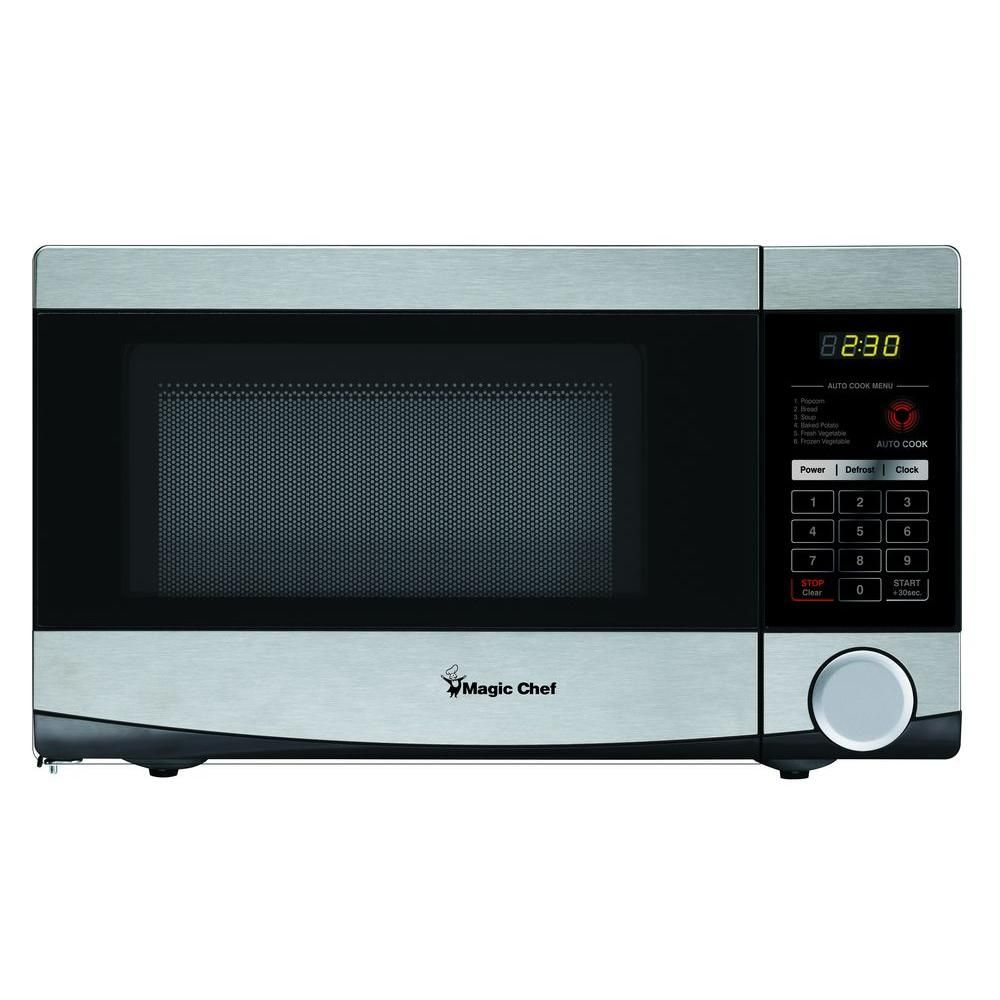 Magic Chef 0 7 Cu Ft Countertop Microwave In Stainless Steel Mcd770st1 At The Home Depot Countertop Microwave Magic Chef Microwave