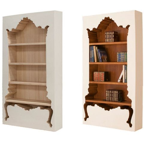 An unusual design mixing modern styles with the ornate to create a hip bookcase unlike any we've ever seen.Stained wood interior, painted wood exterior. many paint choices available, if the color comb