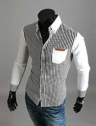 Men's Long Sleeve Shirt , Cotton/Polyester Casual Striped