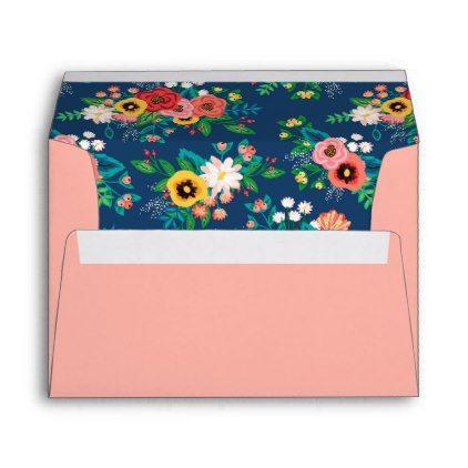 Blush Pink  Boho Floral Pattern Lining Envelope  Blush Pink