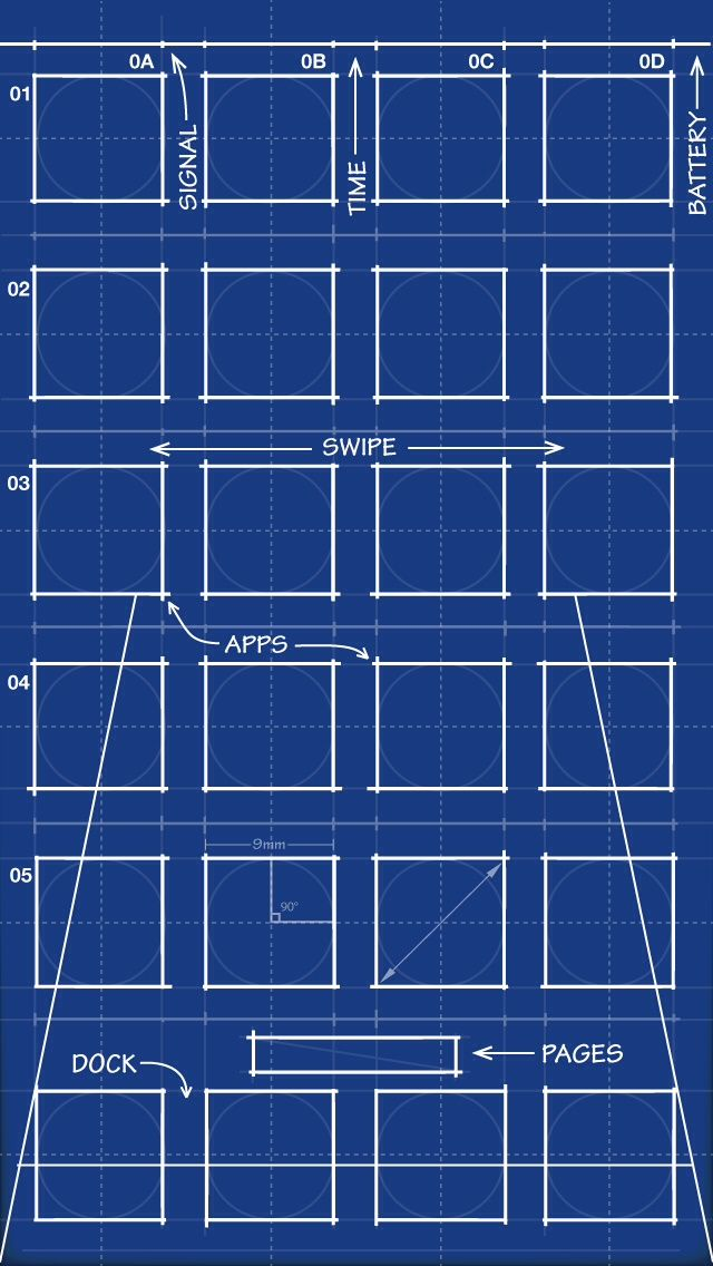 Blueprint home screen backgrounds for apple inc ipod ipad blueprint home screen malvernweather Images