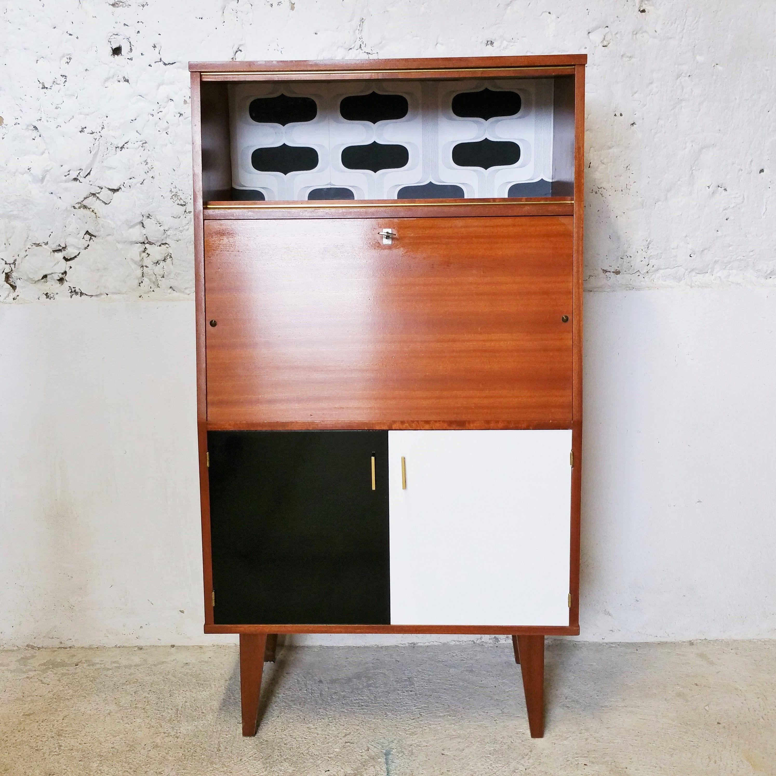 Secrétaire 1970 noir/ blanc / fibresendeco - vannerie artisanale & mobilier vintage