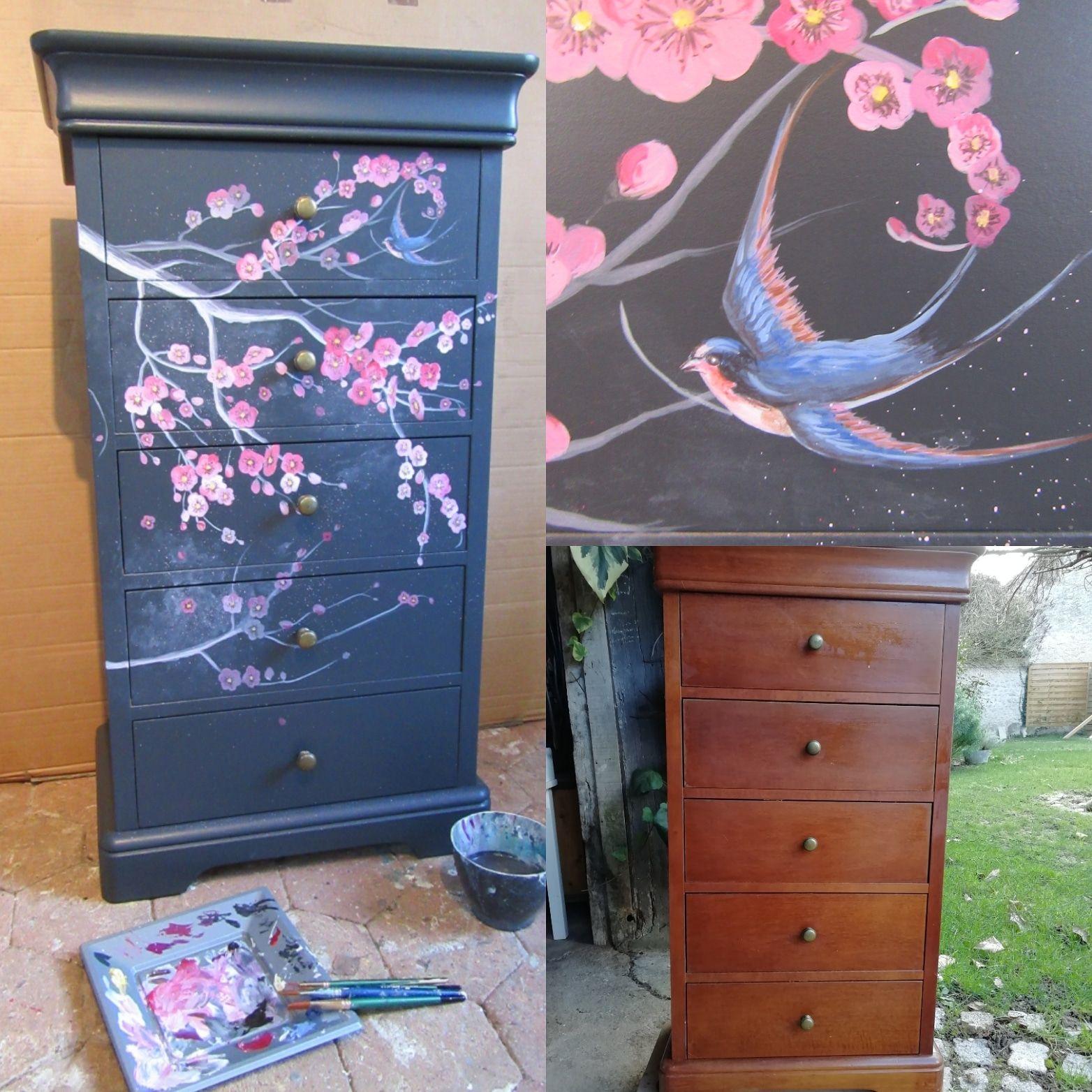 Meuble Peint Fleurs De Cerisier En 2020 Decoration Japonaise Peintre Decorateur Decoration